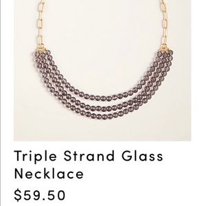 Ann Taylor triple strand glass necklace
